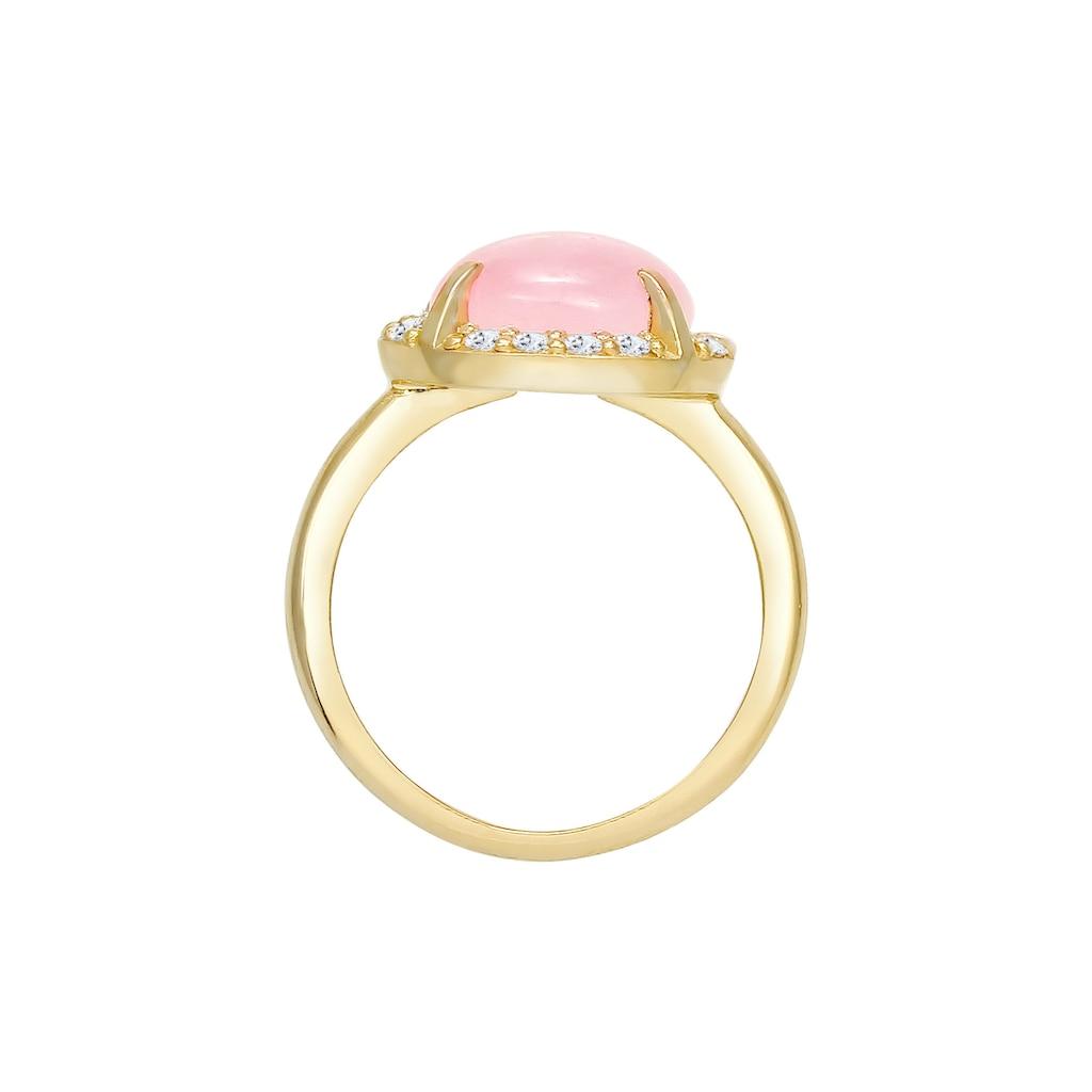 Elli Fingerring »Rose Quartz Topas Edelstein 925 Sterling Silber«