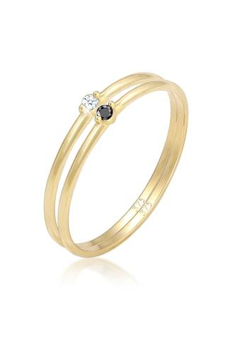 Elli Verlobungsring »Solitär Schwarz Weiss Diamant (0.03 ct.) Gelbgold« kaufen