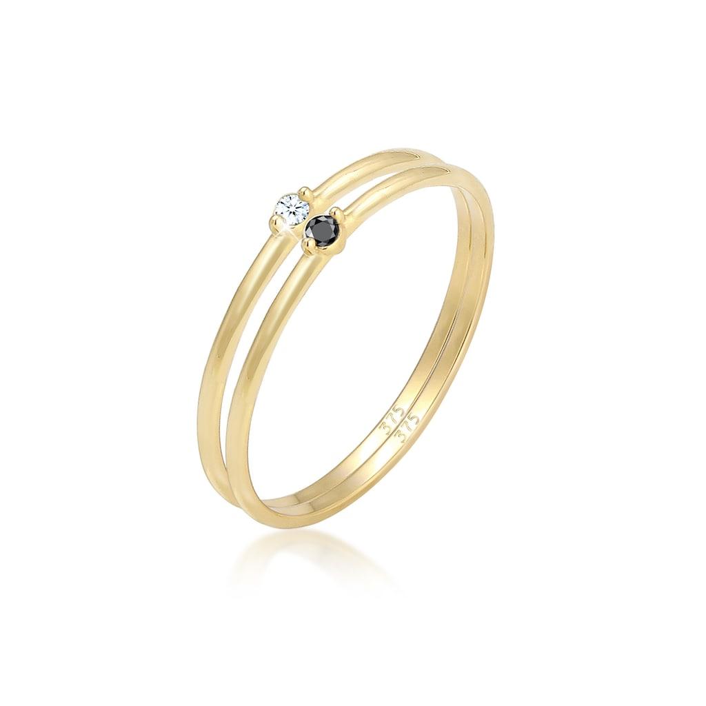 Elli Verlobungsring »Solitär Schwarz Weiss Diamant (0.03 ct.) Gelbgold«