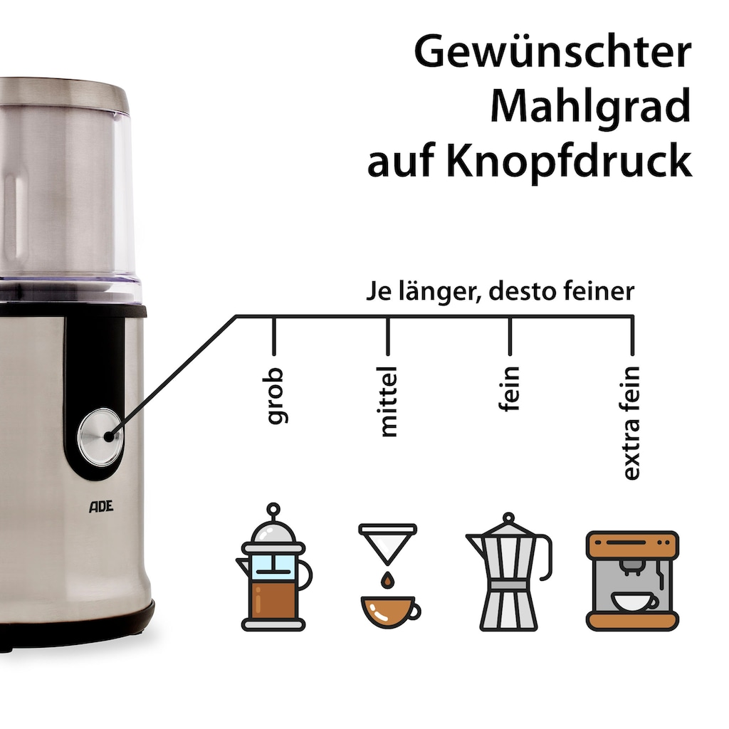 ADE Kaffeemühle »Multifunktions-Gewürzmühle KA1805«, inkl. 2 Mahlbehälter