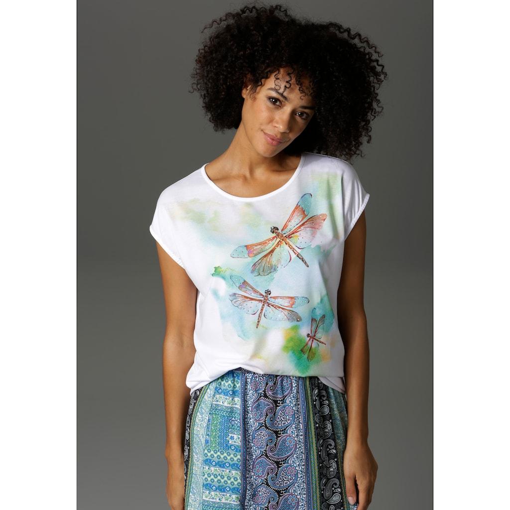Aniston CASUAL T-Shirt, mit Libellen und Glitzersteinchen verziert