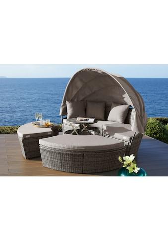 KONIFERA Loungebett »Tahiti Premium «, Polyrattan, braun, inkl. Auflagen kaufen