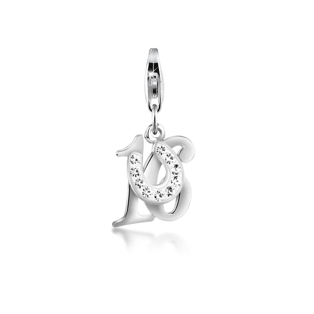 Nenalina Charm-Einhänger »16 Hufeisen Glück Kristalle 925 Silber«