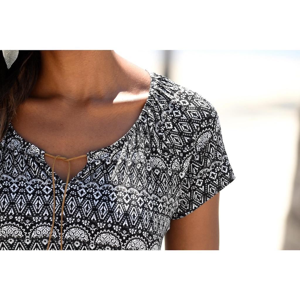 LASCANA T-Shirt, mit Bändern in Lederoptik