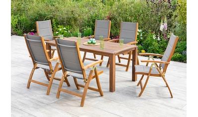 MERXX Gartenmöbelset »Acapulco«, (7 tlg.), 6 Klappsessel mit Tisch kaufen