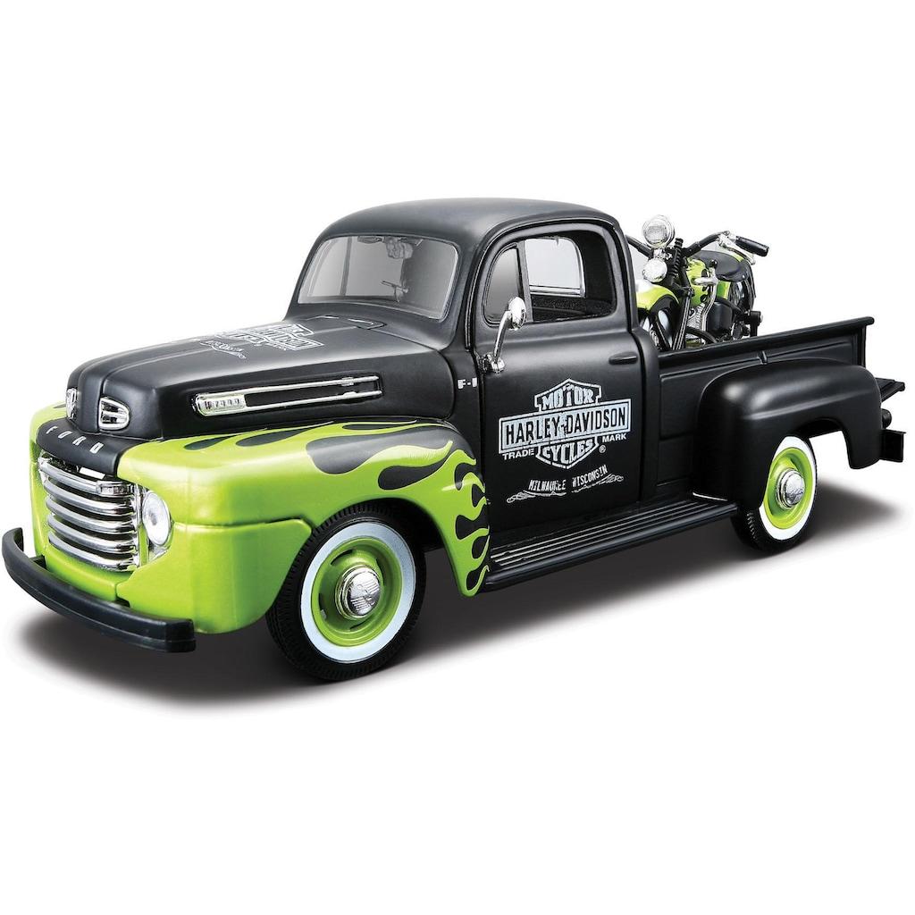 Maisto® Sammlerauto »Ford F1 '48 + FL Panhead '48, 1:24, schwarz/grün«, (Set, 2 tlg.), 1:24, aus Metallspritzguss