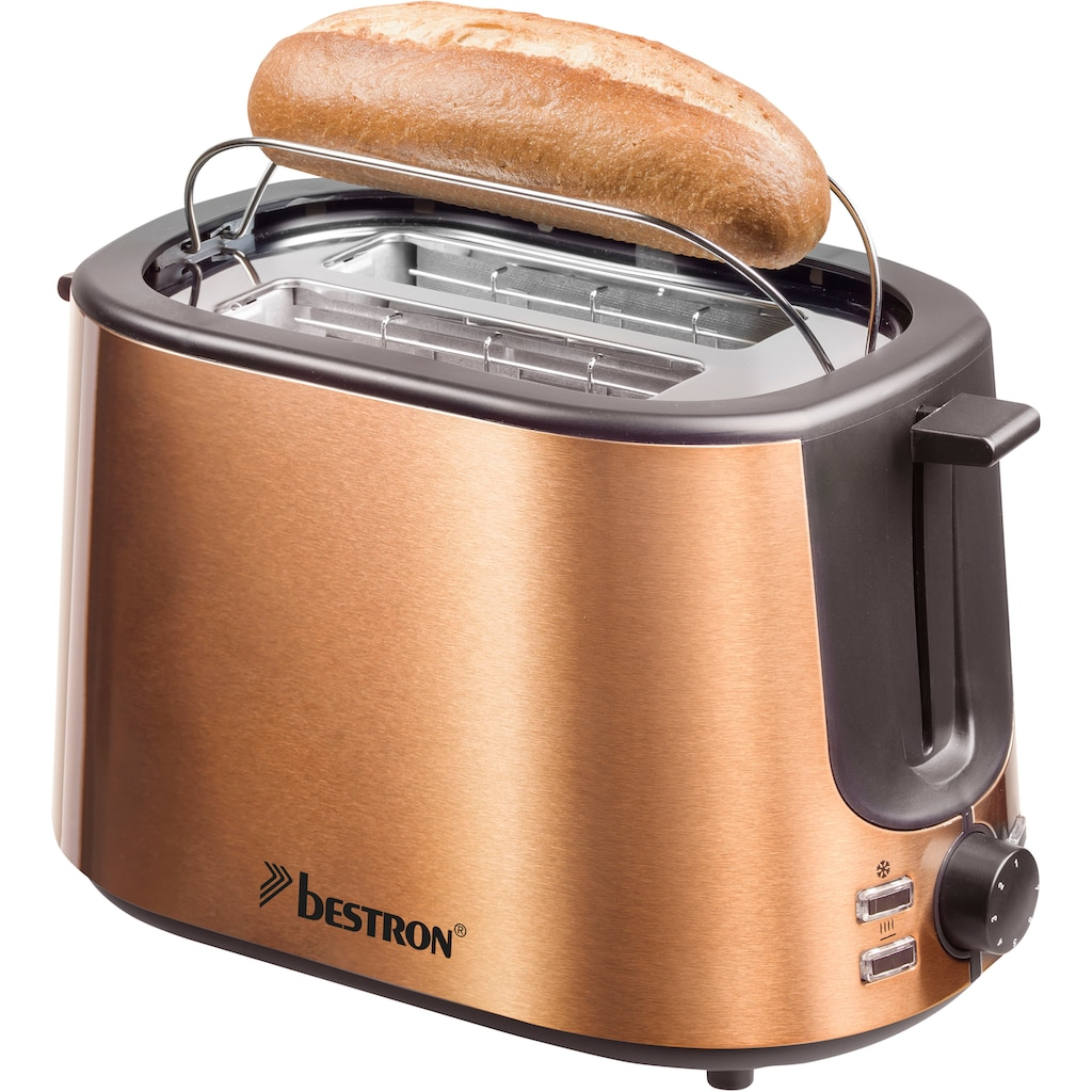 bestron Toaster »ATS1000CO«, 2 kurze Schlitze, für 2 Scheiben, 1000 W, Krümelschublade und Brötchen-Röstaufsatz, Edelstahl in Kupfer-Optik