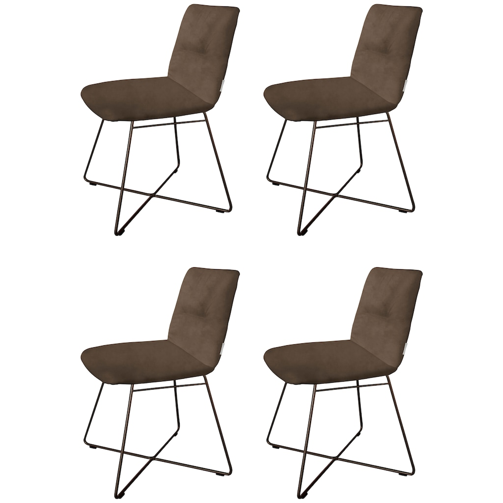 W.SCHILLIG Polsterstuhl »lotta«, 2er- oder 4er-Set, mit Rückensteppung, Drahtrohrgestell in Schwarz pulverbeschichtet