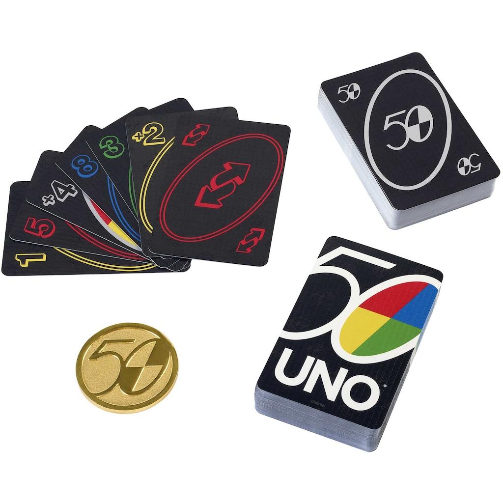 Mattel games Spiel »UNO Premium, 50 Jahre UNO«, Jubiläumsedition (mit Münze)
