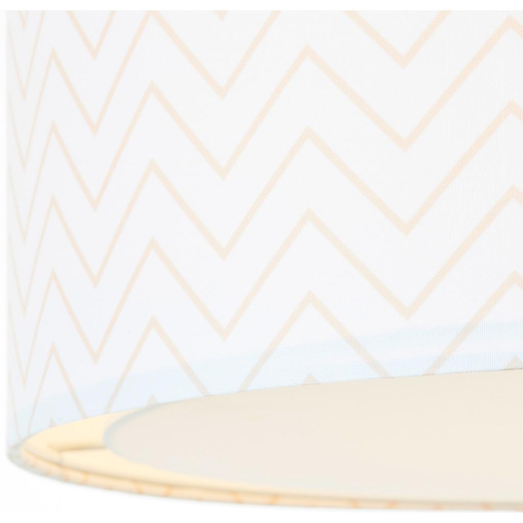 Lüttenhütt Deckenleuchte »Tacken«, E27, Deckenlampe mit Zackenmuster - Stoffschirm Ø 40 cm, beige / weiß, Höhe 32 cm