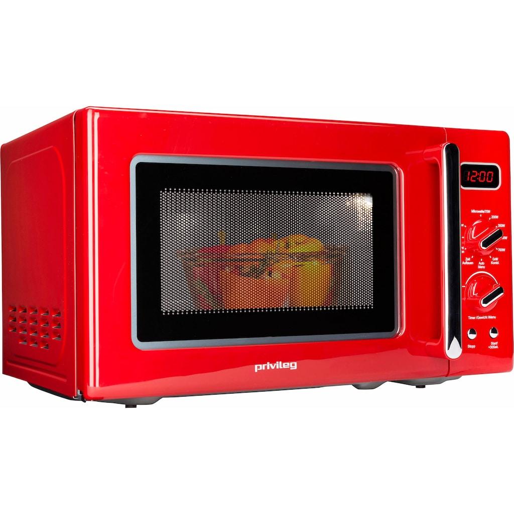 Privileg Mikrowelle »450555«, Grill, 700 W, im Retro-Design, 8 Automatikprogramme, rot