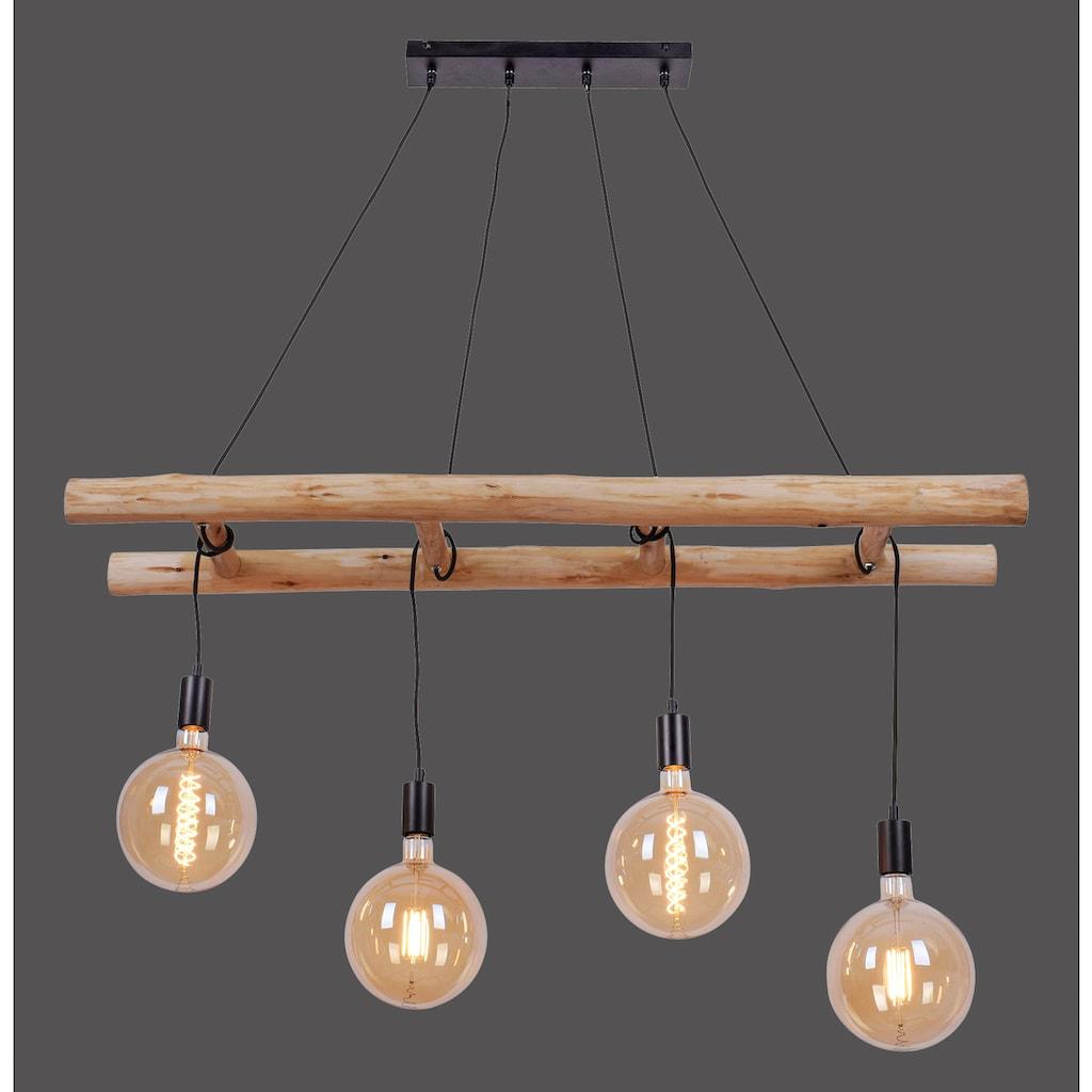 Home affaire Hängeleuchten »EDGAR«, E27, 1 St., Deckenlampe im modernen Industrial Stil, Leiter Optik, Kombination aus Holz und schwarz lackiertem Eisen, Abhängung verstellbar - Reutlinger Verschluss
