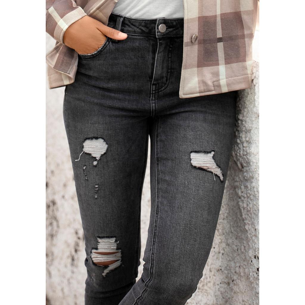 Buffalo Destroyed-Jeans, mit ausgefranstem Beinabschluss