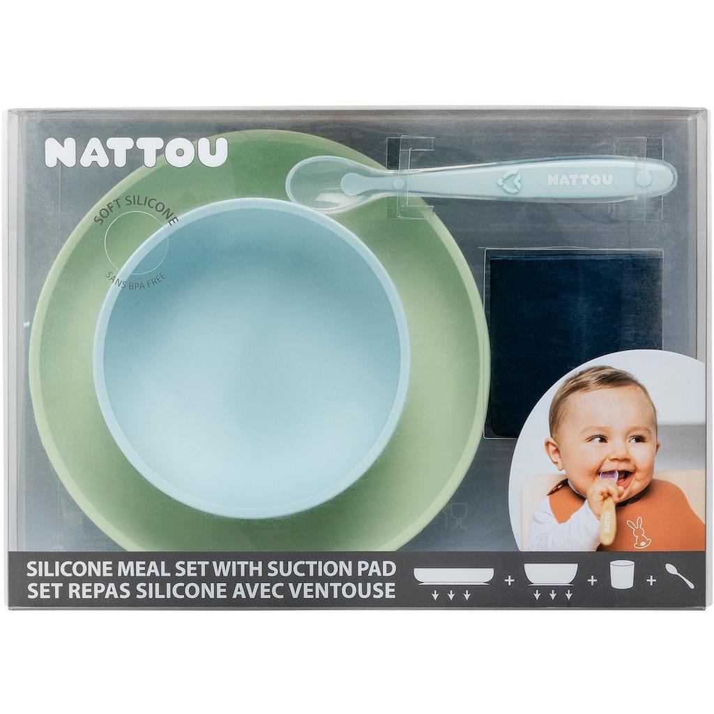 Nattou Kindergeschirr-Set »Silicon, Esslern-Set, Grün/Blau«, (Set, 4 tlg.)