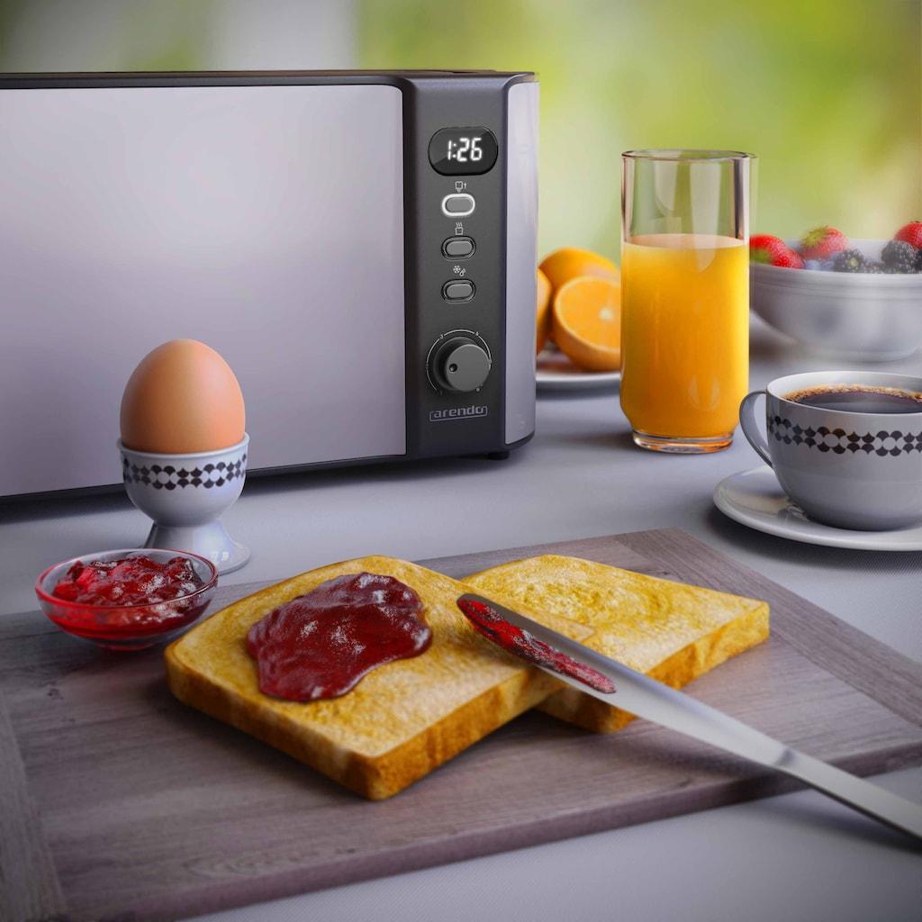 Arendo Toaster »Frukost Light Grey 1000W«, 2 lange Schlitze, 1000 W, in Hellgrau