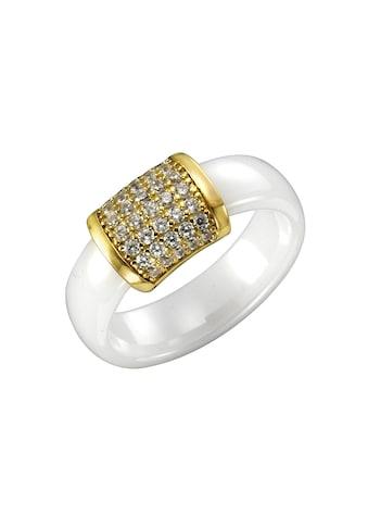 Jacques Lemans Ring 925/- Sterling Silber vergoldet mit Keramik und Zirkonia kaufen