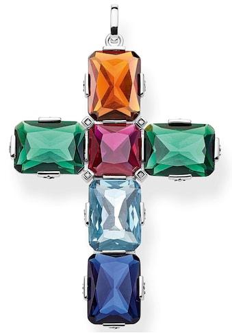 THOMAS SABO Kettenanhänger »Kreuz farbige Steine silber groß, PE858 - 318 - 7« kaufen