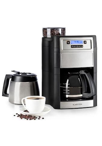 Klarstein Kaffeemaschine mit Mahlwerk »Aromatica II Duo«, goldfarbener Permanentfilter, integriertes Mahlwerk 1,25 l silber kaufen