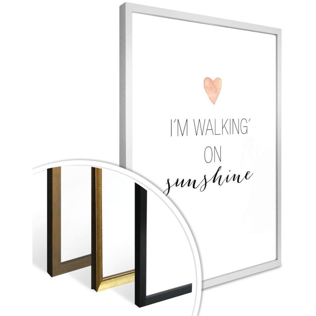 Wall-Art Poster »walking on sunshine«, Schriftzug, (1 St.), Poster, Wandbild, Bild, Wandposter