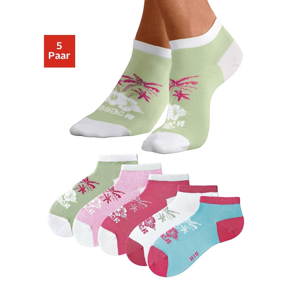 H.I.S Sneakersocken, (5 Paar), im farbenfrohen Hawaii Design