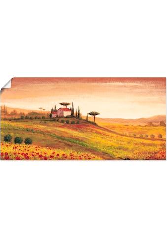 Artland Wandbild »Toskanalandschaft mit Mohnblumen«, Europa, (1 St.), in vielen Größen... kaufen
