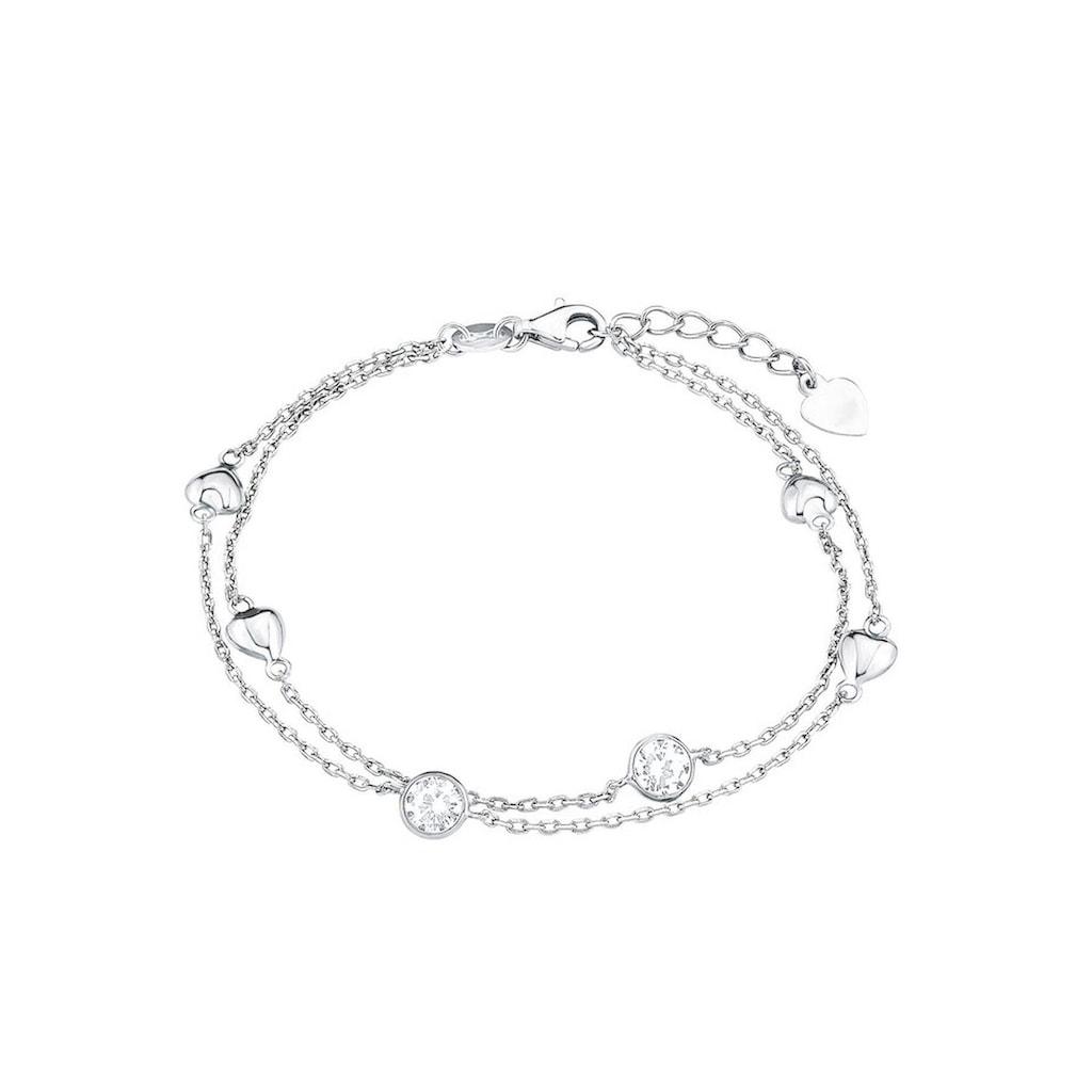 Amor Armband »Mehrreihig, mit Herzen, 2022422«, mit Zirkonia