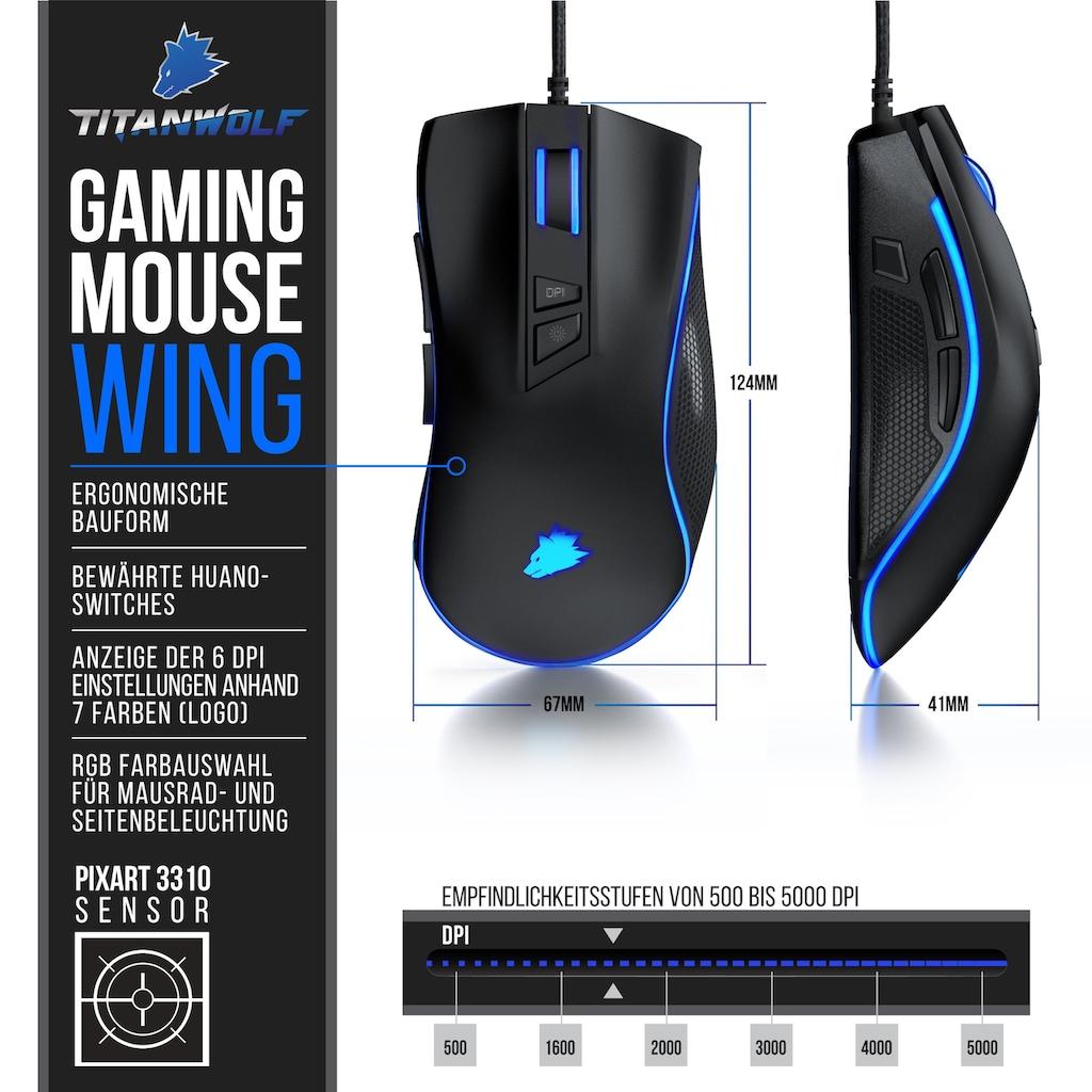 Titanwolf Gaming Maus mit 2 austauschbaren Seitenteilen
