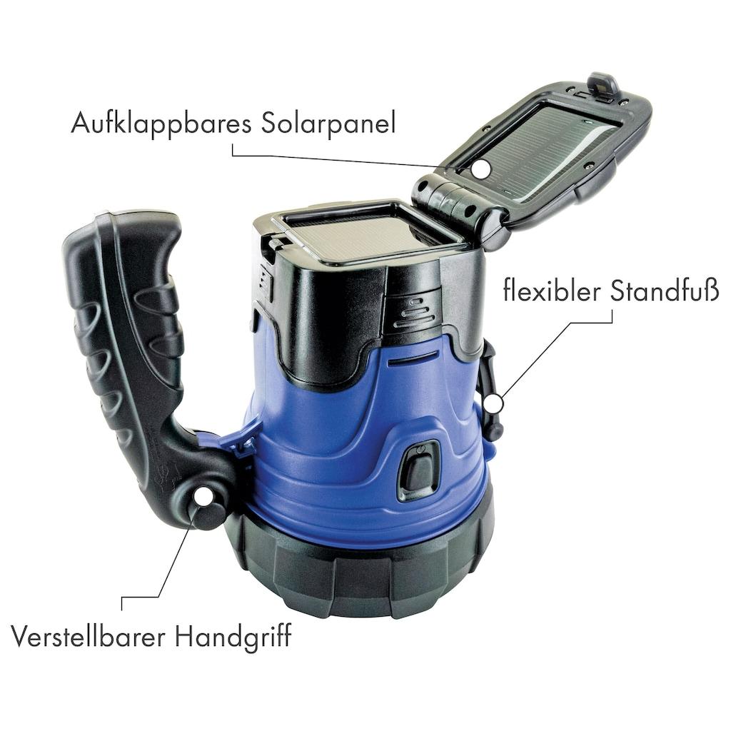 Schwaiger LED Camping Lampe mit Solar Akku Taschenlampe Handstrahler