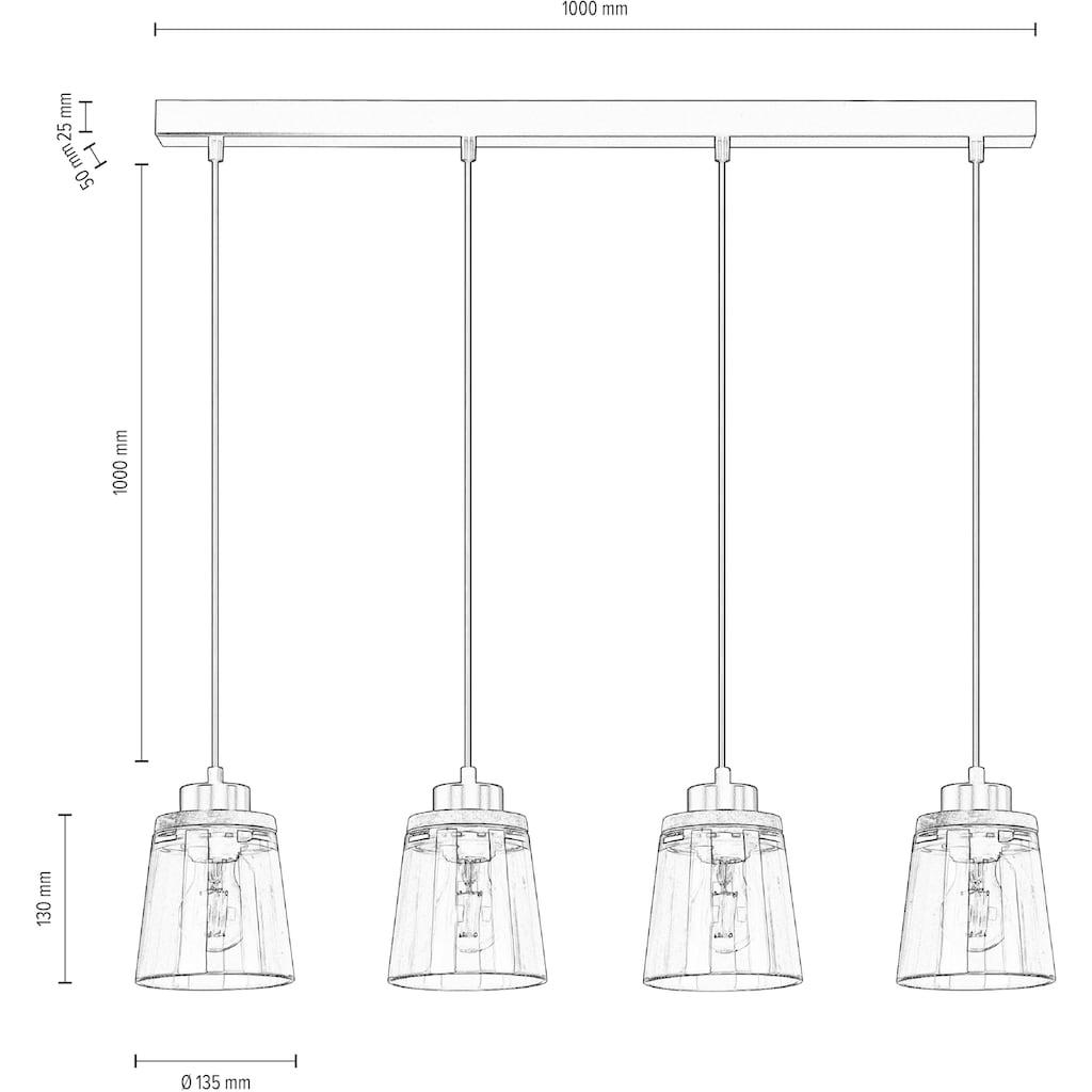 Home affaire Pendelleuchte »Warnemünde«, E27, Schirm aus Rauchglas, mit Dekor aus Eichenholz, LM E27/exklusive, mit FSC®-Zertifikat, nachhaltig hergestellt in Europa