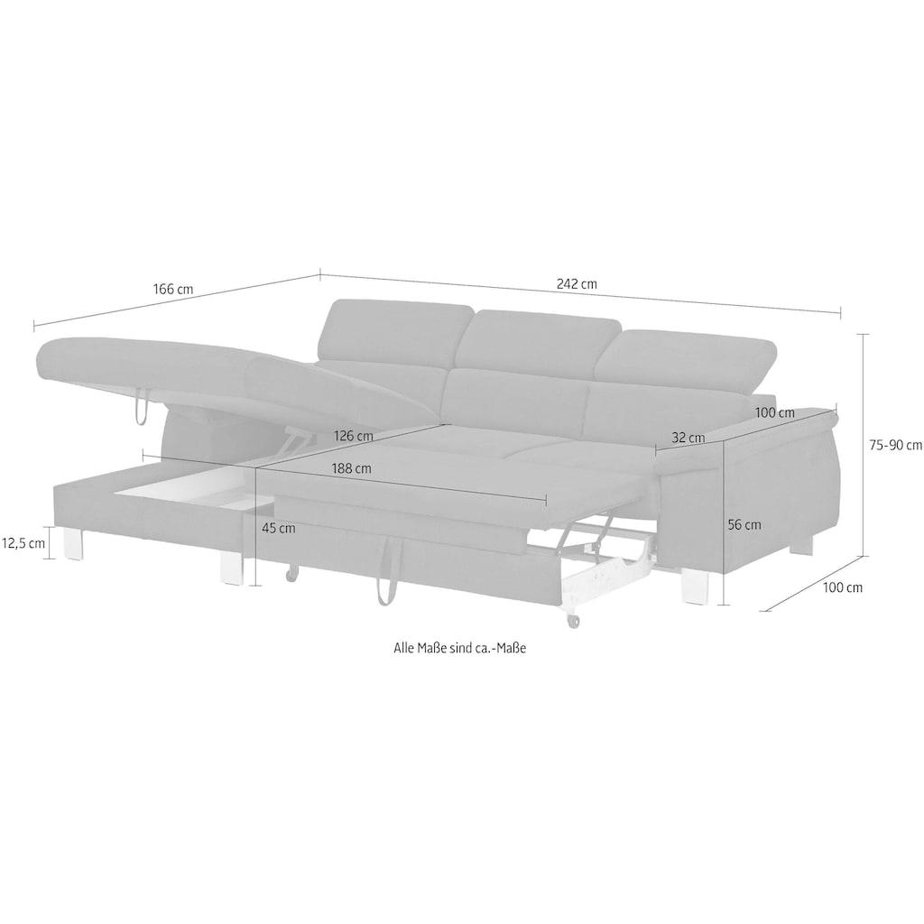 COTTA Polstergarnitur »Komaris«, (Set), Set: bestehend aus Ecksofa und Hocker, Ecksofa inklusive Kopfteilverstellung, wahlweise mit Bettfunktion und RGB-LED-Beleuchtung