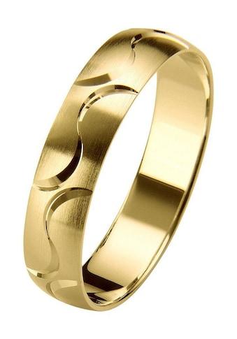 Firetti Trauring mit Gravur »5,0 mm, seidenmatt, Diamantschnitt, Gelbgold« kaufen