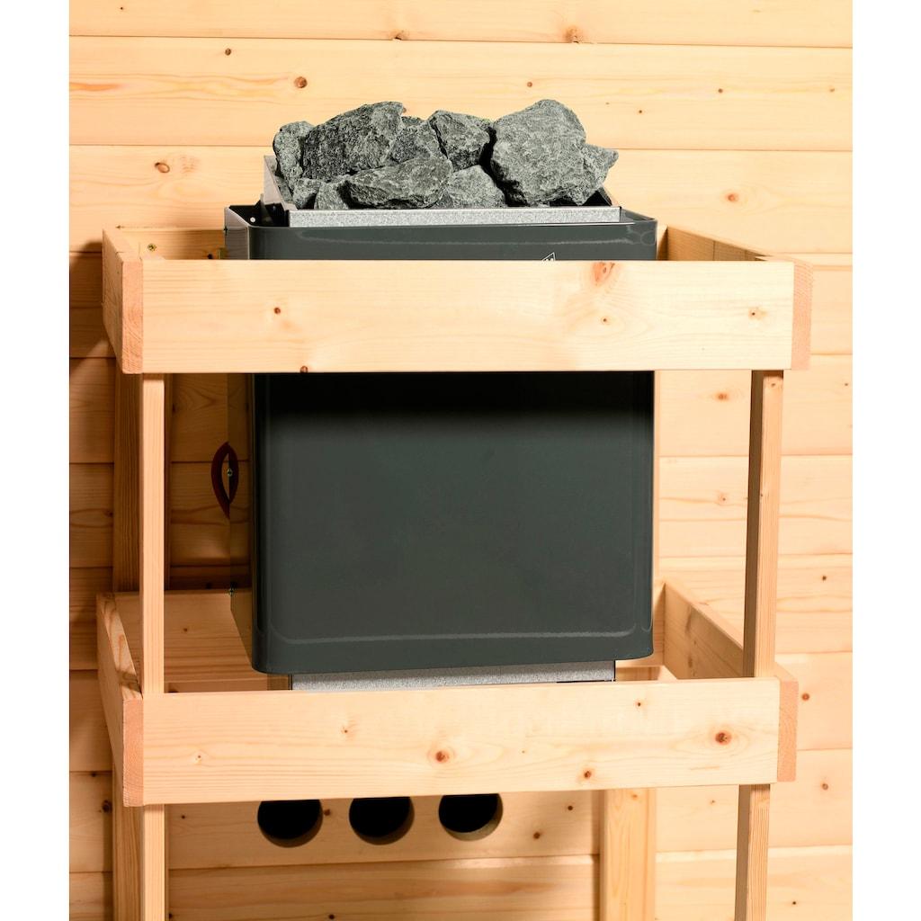 Karibu Sauna »Juli«, 4,5-kW-Ofen mit ext. Steuerung
