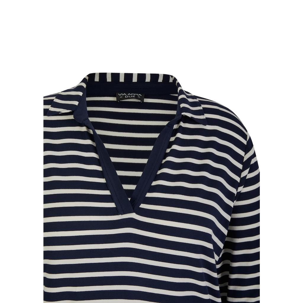 VIA APPIA DUE Poloshirt, mit offenem V und Polo-Kragen