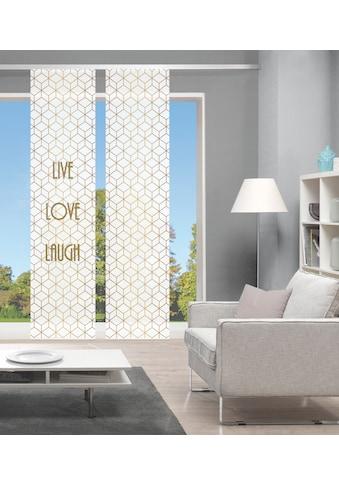 Vision Schiebegardine »LIVE LOVE LAUGH 2er SET«, Bambus-Optik, Digital bedruckt kaufen