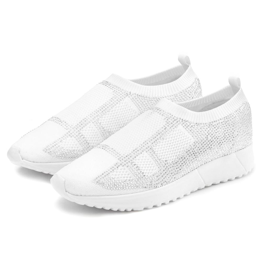 LASCANA Sneaker, Slip-In mit kleinen Strasssteinen und ultraleichter Sohle