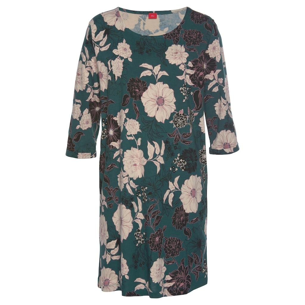 s.Oliver Nachthemd, im Blumenmuster mit 3/4-Ärmeln