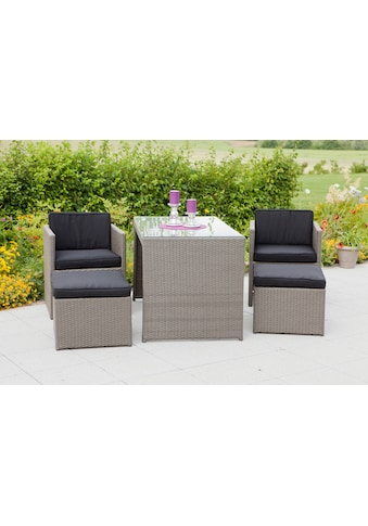 MERXX Gartenmöbelset »Merano«, (11 tlg.), 2 Sessel, 2 Hocker, Tisch 128x70 cm, Polyrattan kaufen