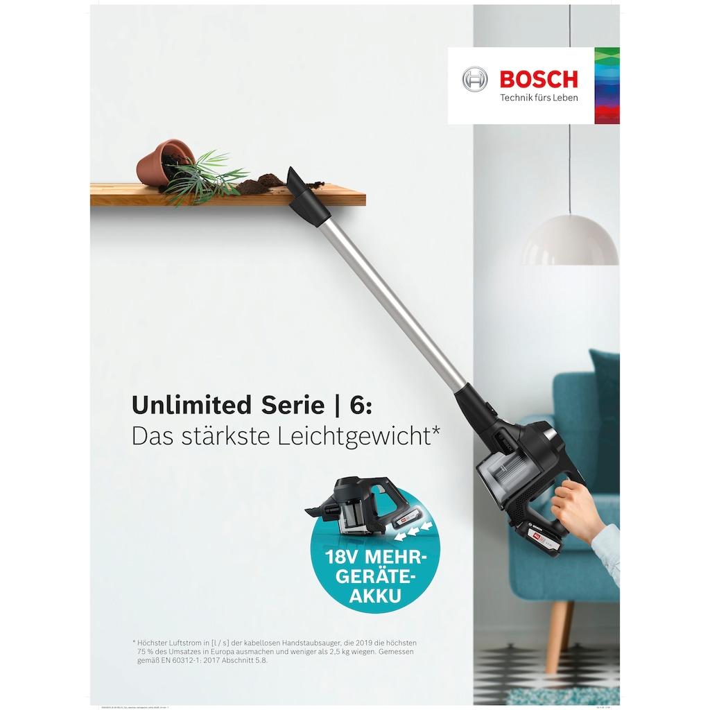 BOSCH Akku-Stielstaubsauger »Unlimited Serie 6, schwarz, BKS6111P«, 18V Power for ALL Akku, inkl. Möbelpinsel