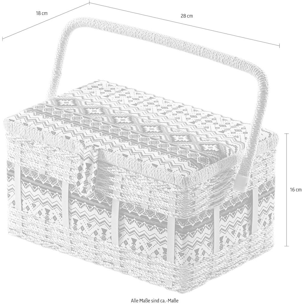 locker Nähkästchen, eckig, aus Kunststoff und Textil mit schwarz weißem Muster