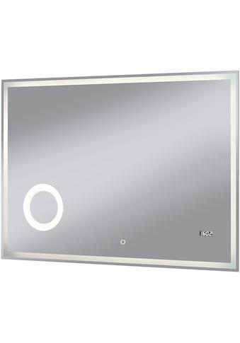 WELLTIME Badspiegel »Flex«, 100 x 70 cm, LED - Beleuchtung, Uhr, Vergrößerungsspiegel kaufen