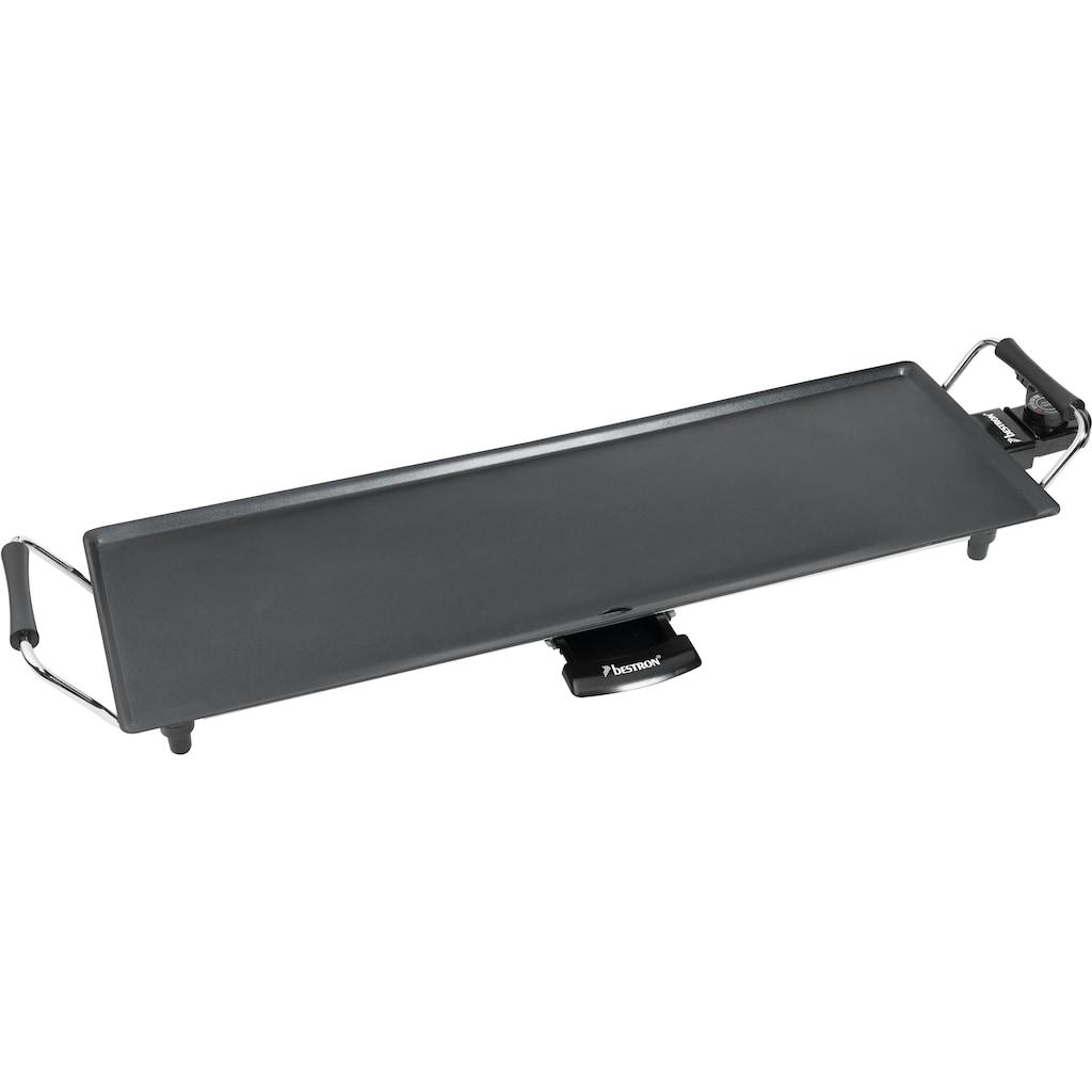 bestron Teppanyakigrill »elektrische XL Planchagrillplatte«, 1000 W, mit Antihaftbeschichtung, Schwarz