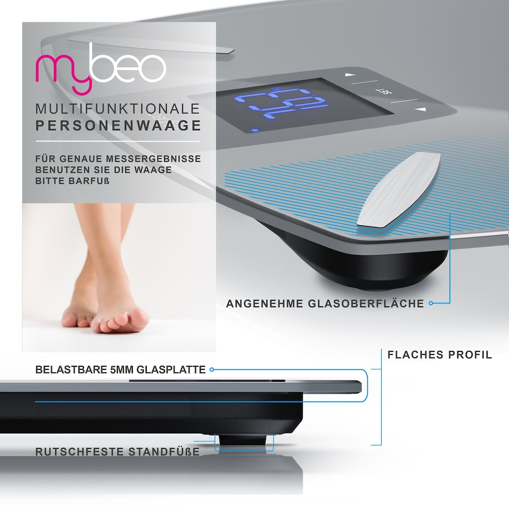 MyBeo Glas Diagnosewaage »Digital-Multifunktionswaage / Max. 180 kg«