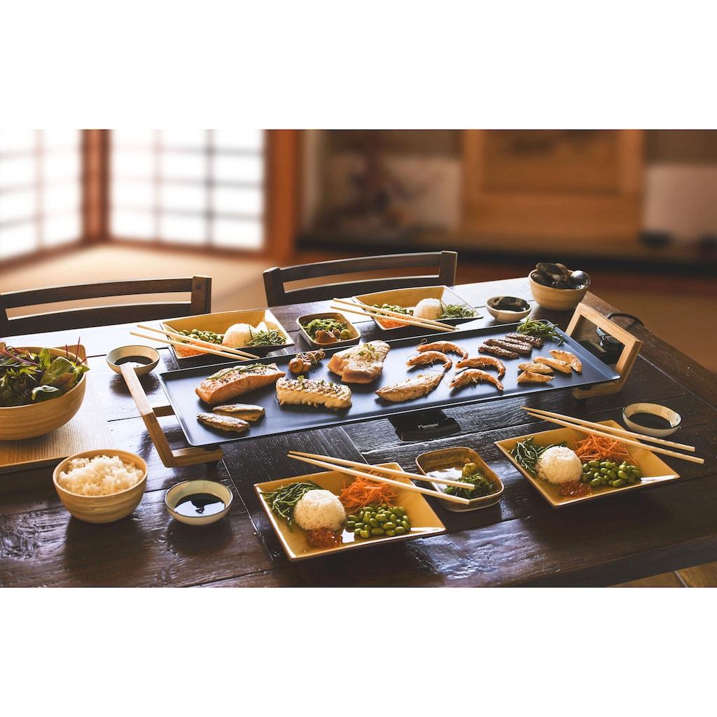 bestron Teppanyakigrill »Asia Lounge«, 1800 W, Grillplatte XL im Asia Design, mit Bambus-Griffen, Farbe: Schwarz