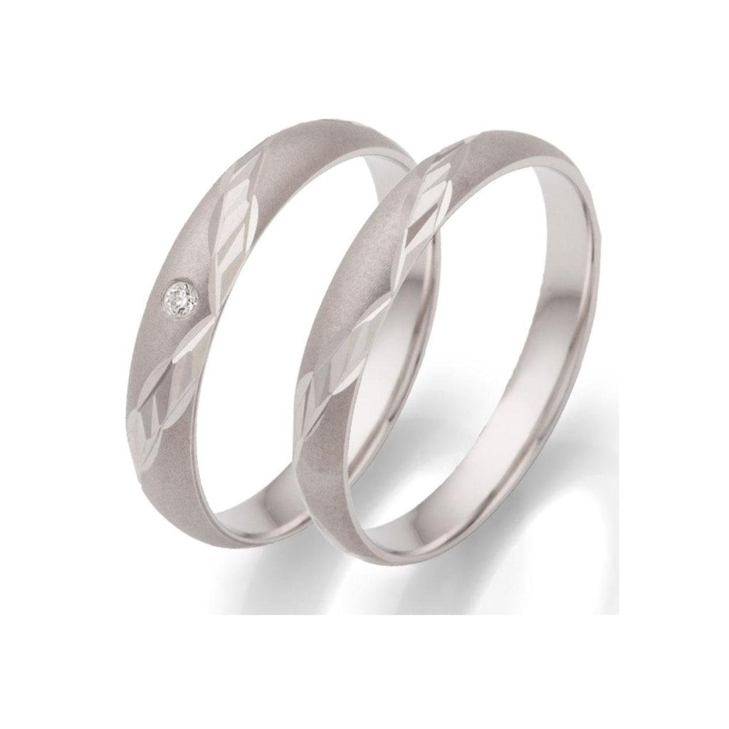 Firetti Trauring mit Gravur »rhodiniert, sandmatt, Diamantschnitt, 3,5 mm breit«, wahlweise mit oder ohne Zirkonia