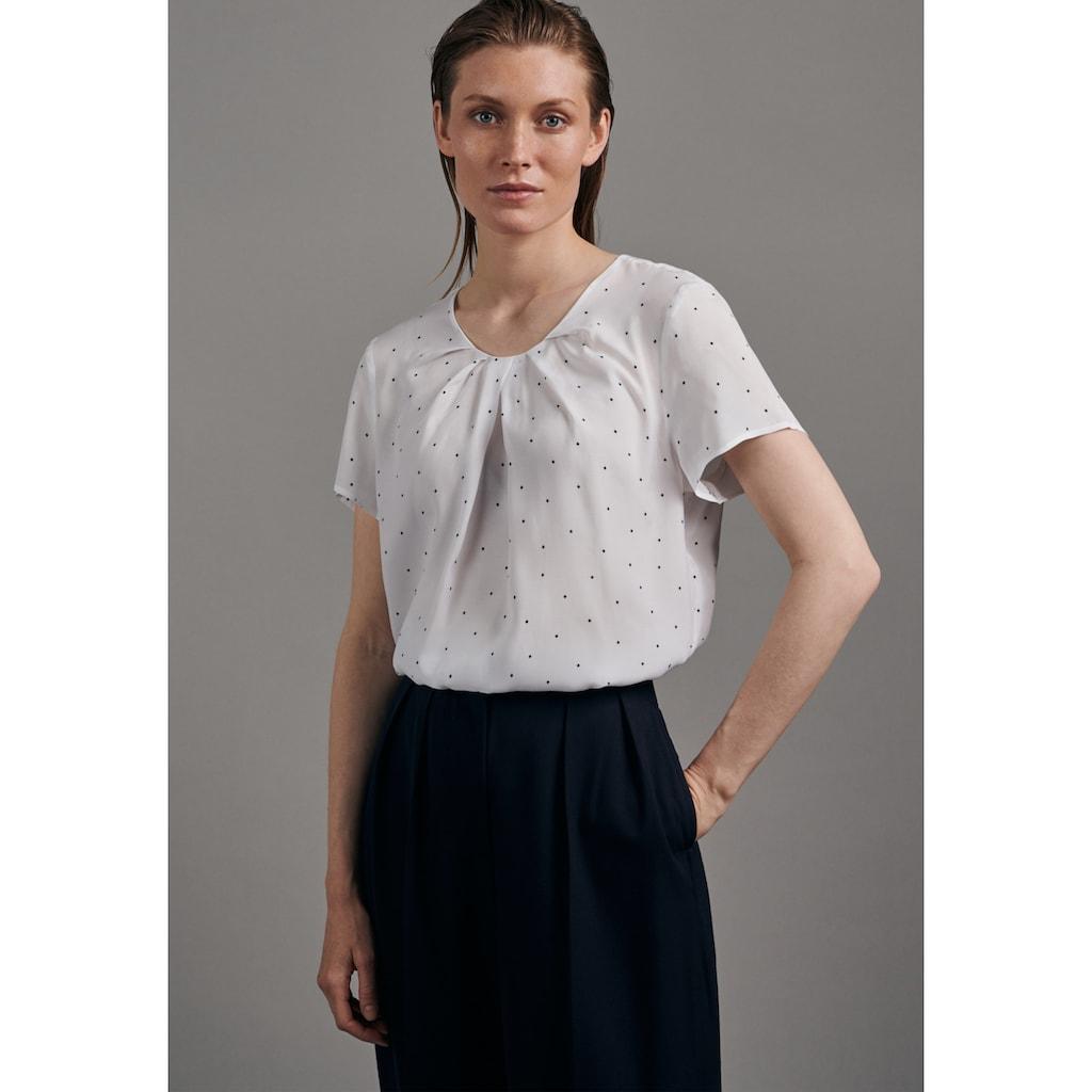 seidensticker Shirtbluse »Schwarze Rose«, Kurzarm Rundhals Punkte