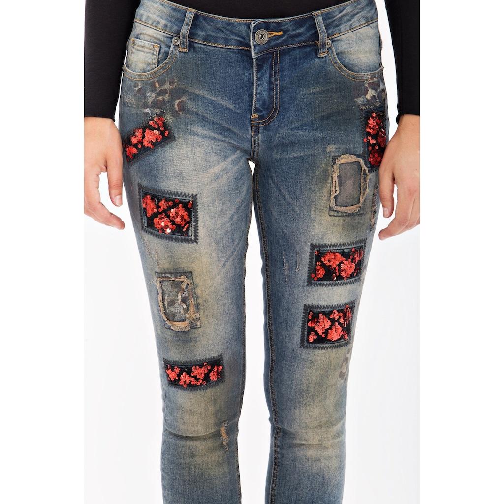 Blue Monkey Skinny-fit-Jeans »Honey 8090«, mit Pailletten Patches und Druck
