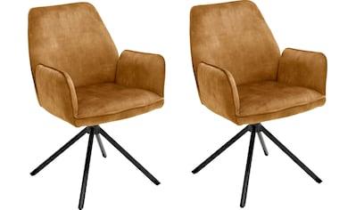 MCA furniture Esszimmerstuhl »Ottawa mit Armlehne«, 2er-Set, Vintage Veloursoptik mit Keder, Stuhl belastbar bis 120 Kg kaufen