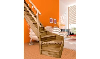 STARWOOD Raumspartreppe »Rhodos«, geschl. Stufen, 1/4 links gewendelt, Holzgeländer links kaufen