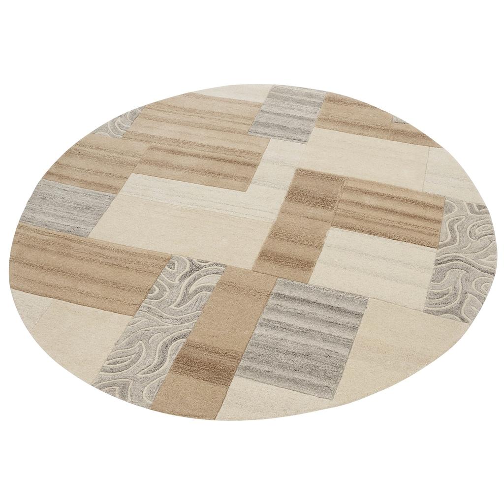 Theko Exklusiv Wollteppich »Lola«, rund, 12 mm Höhe, reine Wolle, Wohnzimmer