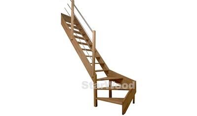 STARWOOD Raumspartreppe »Rhodos«, offene Stufen, 1/4 links gewendelt, Holz - Edelstahlgel. links kaufen